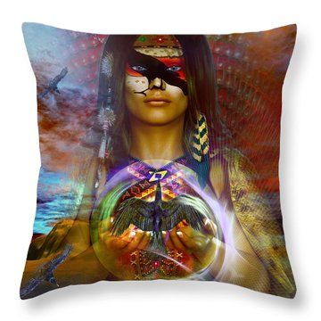 Throw Pillow featuring the digital art the RAVEN  spirit by Shadowlea Is