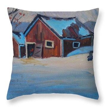 The Raymond Serre Farm Throw Pillow by Len Stomski
