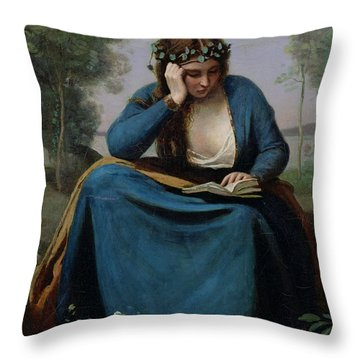 The Reader Crowned With Flowers Throw Pillow by Jean Baptiste Camille Corot