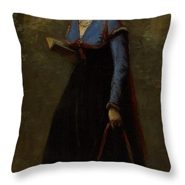 The Reader Throw Pillow by Jean Baptiste Camille Corot