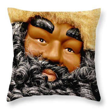 The Real Black Santa Throw Pillow by Christine Till