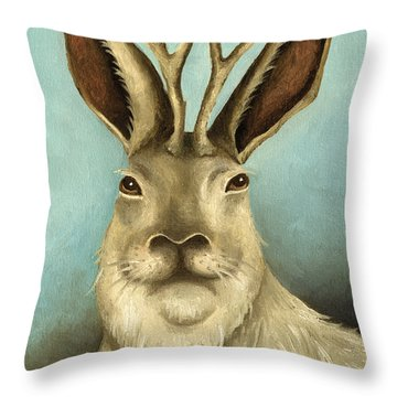 The Real Jackalope Throw Pillow