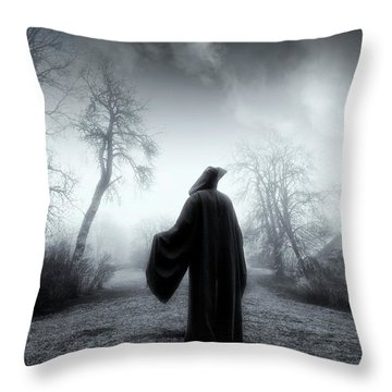 The Reaper Moving Through Mist And Fog Throw Pillow by Christian Lagereek