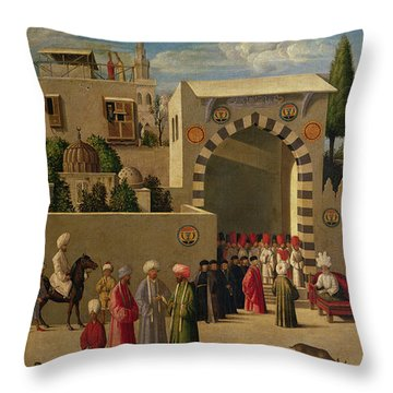 The Reception Of Domenico Trevisani In Cairo Throw Pillow by Italian School