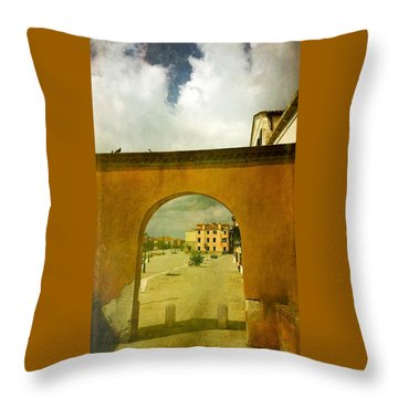 Throw Pillow featuring the photograph The Red Archway by Anne Kotan