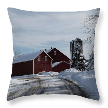 The Red Barn In The Snow Throw Pillow