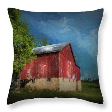 Throw Pillow featuring the photograph The Red Barn by Marvin Spates
