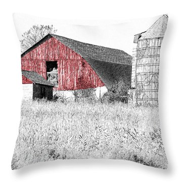 The Red Barn - Sketch 0004 Throw Pillow