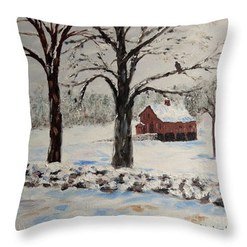 The Red Barn Throw Pillow by Stanton Allaben