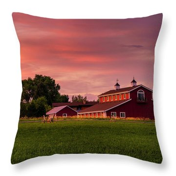 Throw Pillow featuring the photograph The Red Barn by TL Mair