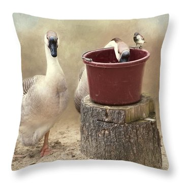 Throw Pillow featuring the photograph The Red Bucket by Robin-Lee Vieira