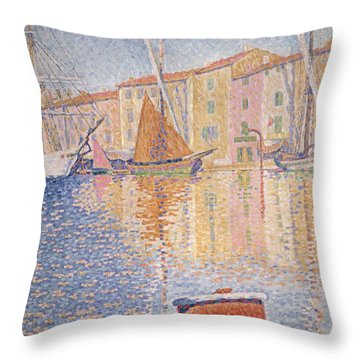 The Red Buoy Throw Pillow by Paul Signac