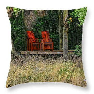 Throw Pillow featuring the photograph The Red Chairs by Deborah Benoit