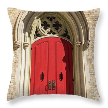 The Red Church Door. Throw Pillow