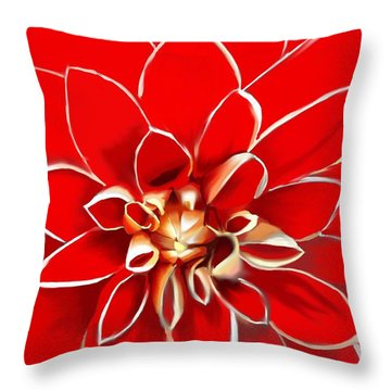 The Red Dahlia Throw Pillow