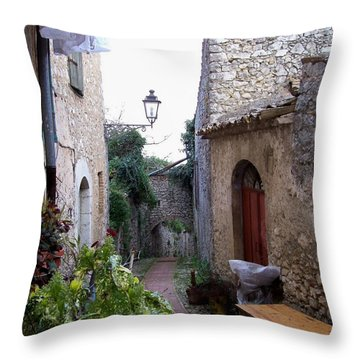 The Red Door Throw Pillow by Judy Kirouac