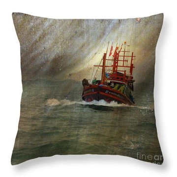 Throw Pillow featuring the photograph The Red Fishing Boat by LemonArt Photography