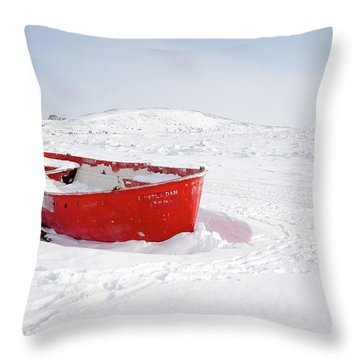 The Red Fishing Boat Throw Pillow