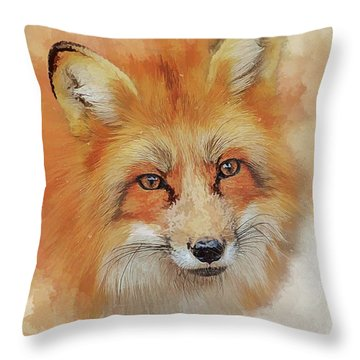 The Red Fox Throw Pillow by Brian Tarr