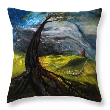 The Red House Throw Pillow by Antonio Ortiz
