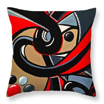 Red Black Abstract Art Painting, Swirl Acrylic Painting Throw Pillow