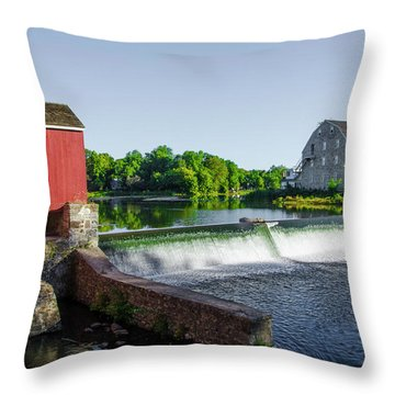 The Red Mill  On The Raritan River - Clinton New Jersey  Throw Pillow by Bill Cannon