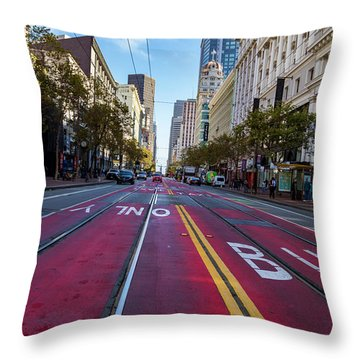 Throw Pillow featuring the photograph The Red Path by Darcy Michaelchuk