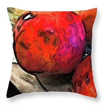 The Red Pomegranates On The Marble Chopping Board Throw Pillow