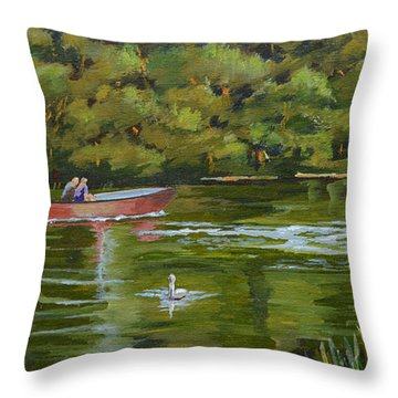 Throw Pillow featuring the painting The Red Punt by Murray McLeod