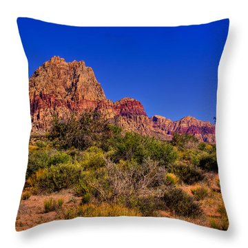 The Red Rock Canyon At Bonnie Springs Ranch Throw Pillow by David Patterson