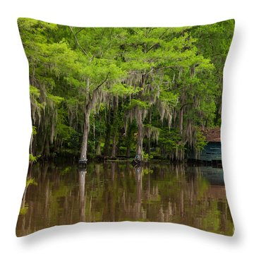 The Red Roof House Throw Pillow by Iris Greenwell
