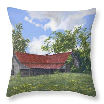 The Red Roof Throw Pillow by Peter Muzyka