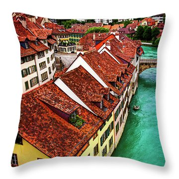 The Red Rooftops Of Bern Switzerland  Throw Pillow