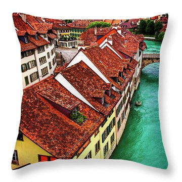 Throw Pillow featuring the photograph The Red Rooftops Of Bern Switzerland  by Carol Japp
