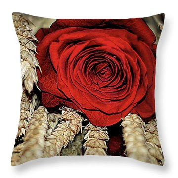 Throw Pillow featuring the photograph The Red Rose On A Bed Of Wheat by Diana Mary Sharpton