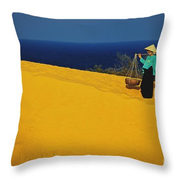 The Red San Dunes Of Mui Ne Vietnam Throw Pillow