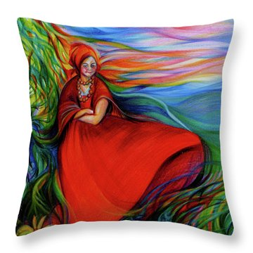 The Red Sarafan Of The Summer Throw Pillow