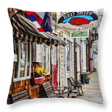 The Red Skiff In Rockport Ma Throw Pillow by Nancy De Flon
