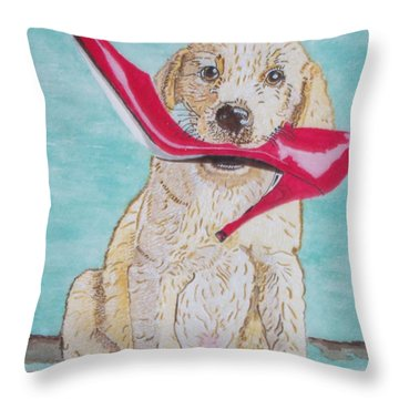 Throw Pillow featuring the painting The Red Slipper  by Connie Valasco