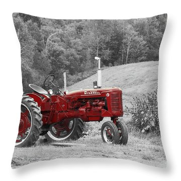 The Red Tractor Throw Pillow by Aimelle