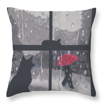 The Red Umbrella Throw Pillow by Quwatha Valentine