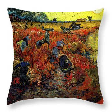 Throw Pillow featuring the painting The Red Vineyard At Arles by Van Gogh