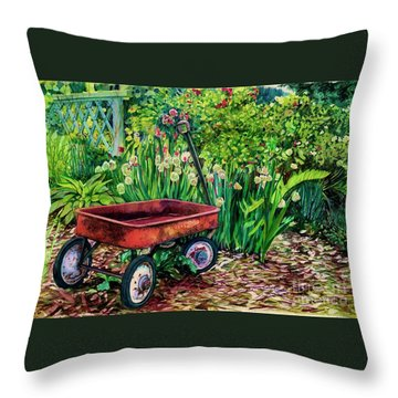 The Red Wagon Throw Pillow