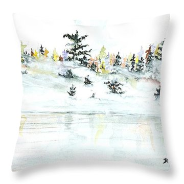 Throw Pillow featuring the painting The Reflection Lake by Darren Cannell