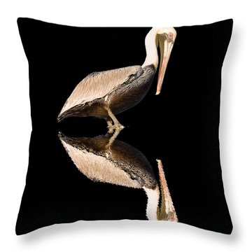 The Reflection Of A Pelican Throw Pillow