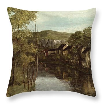 The Reflection Of Ornans Throw Pillow by Gustave Courbet