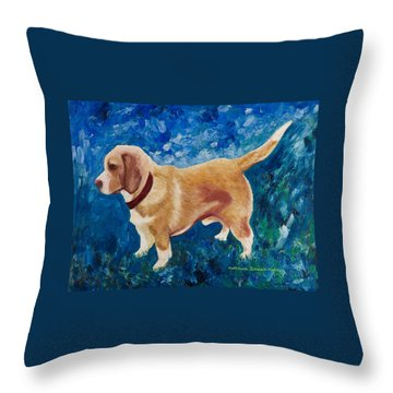 Throw Pillow featuring the painting The Regal Beagle by KLM Kathel