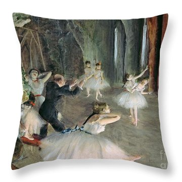 The Rehearsal Of The Ballet On Stage Throw Pillow by Edgar Degas