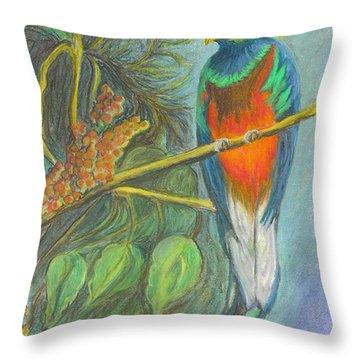 Throw Pillow featuring the drawing The Resplendent Quetzal Bird by Carol Wisniewski