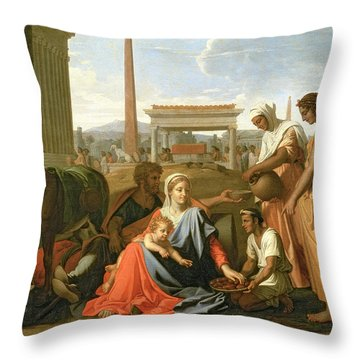 The Rest On The Flight Into Egypt Throw Pillow by Nicolas Poussin